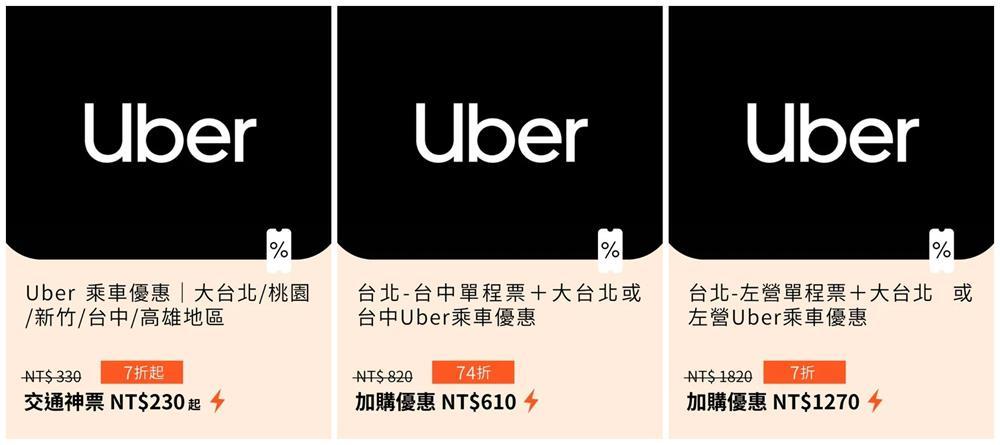 Uber,台灣高鐵,高鐵交通聯票,高鐵國旅聯票,KLOOK,高鐵票,高鐵國旅聯票7折,客路
